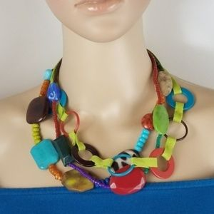 GUESS Mixed Media Colorful Layered Necklace